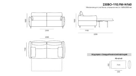 BON BON sofa размеры фото 1