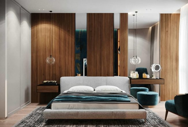 The ultra-modern interior of this bedroom in the Rybalsky residential complex