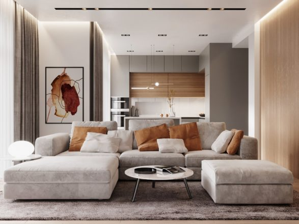 The project of a modern living room in the residential complex