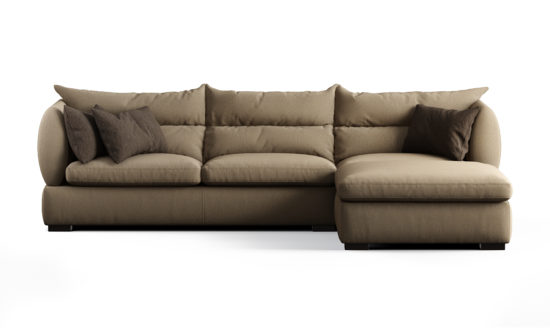 Three-seater sofa with a movable puff sofa фото